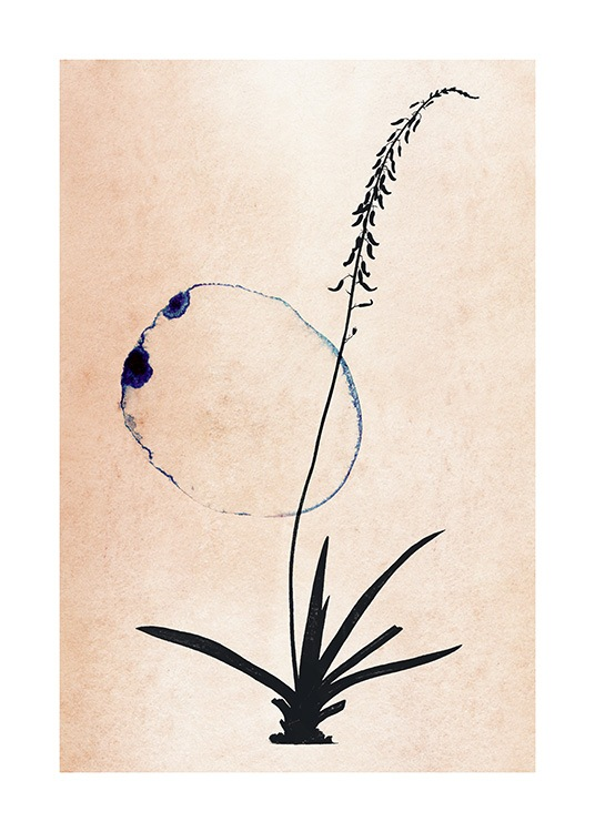 – Painting in watercolour with a blue circle and a flower in black on a beige background