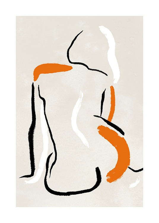 – Painting with a body in line art, with bold lines in black, white and orange on a beige background