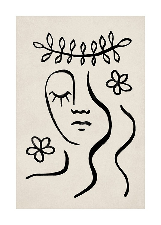 – Graphic illustration with leaves, flowers and a face in black line art against a beige background