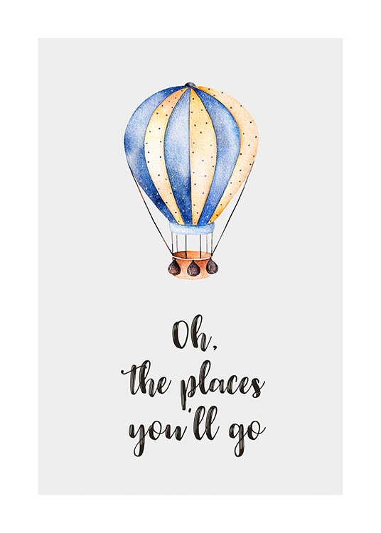 – Illustration with text underneath an air balloon against a grey background