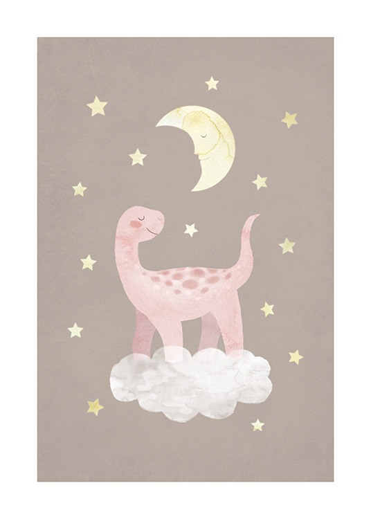 – Illustration of a dinosaur in pink standing on a cloud with stars and a moon around it against a brown background