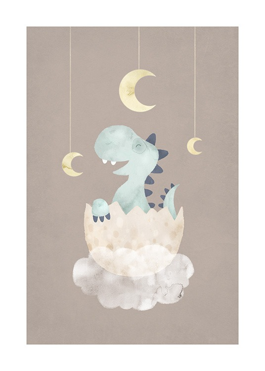 – Illustration of a small, blue dinosaur in an egg on top of a cloud against a brown background