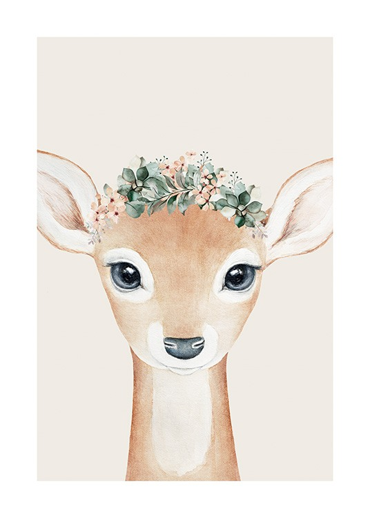 – Illustration of a beige baby deer with blue eyes and a flower crown, against a beige background