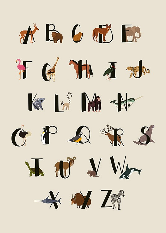 – Graphic illustration of the alphabet in black, with animals behind each of the letters