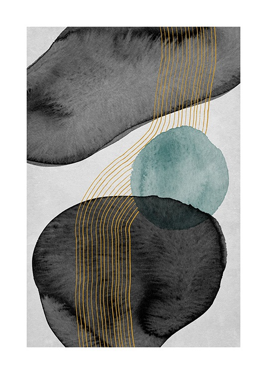 – Painting with shapes in black and blue watercolour and gold lines, on a grey background