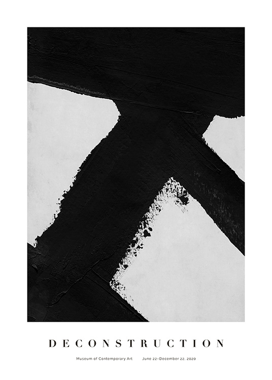 – Painting with bold, abstract brush strokes in black on a light grey background