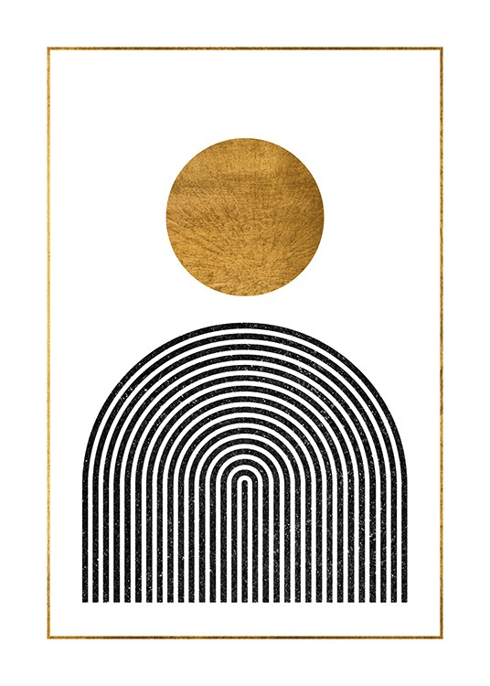 – Graphic illustration with a gold circle above a black arch against a white background