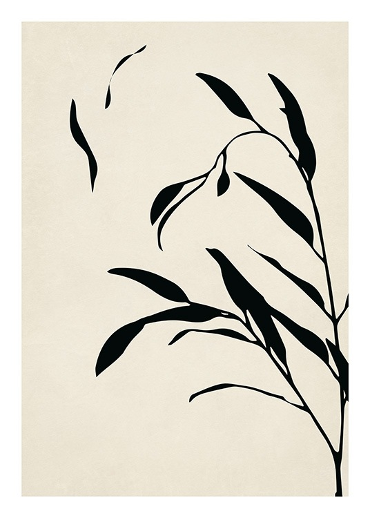 – Graphic illustration of black branches with black leaves, on a beige background