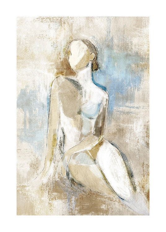 – Painting of a naked woman in a sitting pose, on a beige and blue background