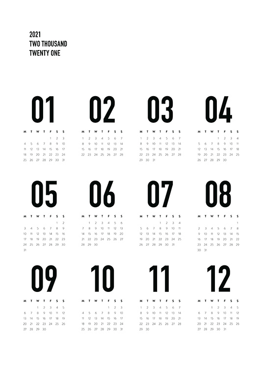 – Black and white calendar with monthly view of 2021