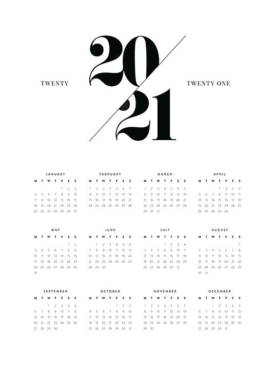 – Calendar in black and white for 2021 with a monthly view