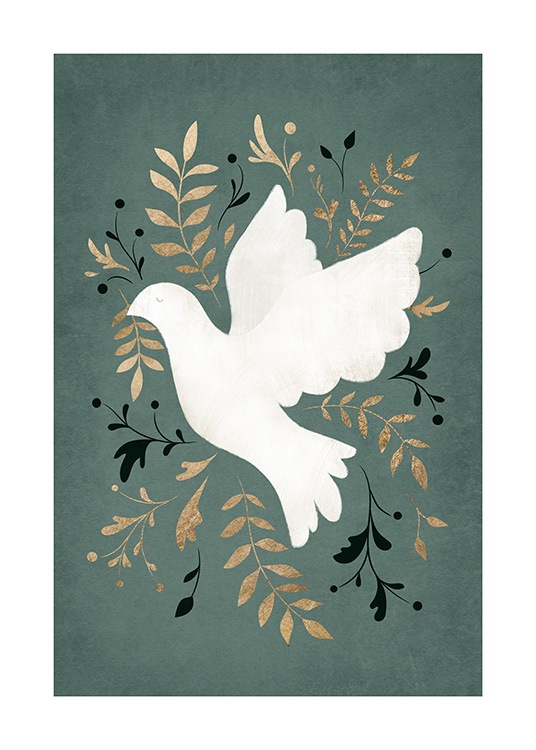 – Illustration of a white peace dove and leaves in gold and black on a green background