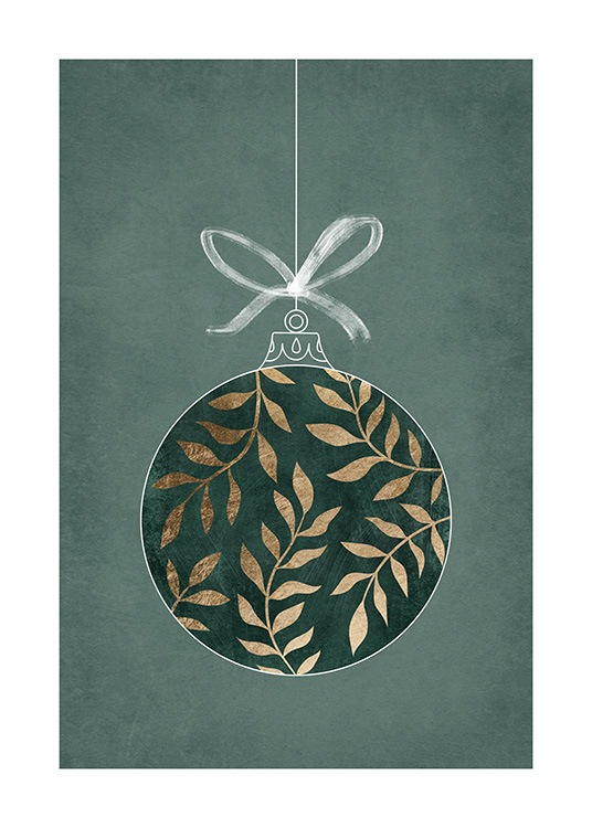 – Illustration of a green and gold Christmas ornament on a white string against a green background