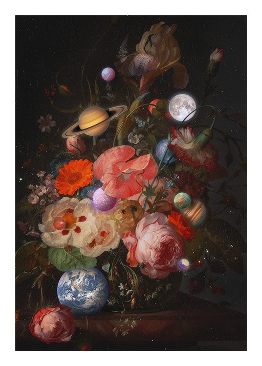 – Painting with a bouquet of flowers and planets against a dark grey background