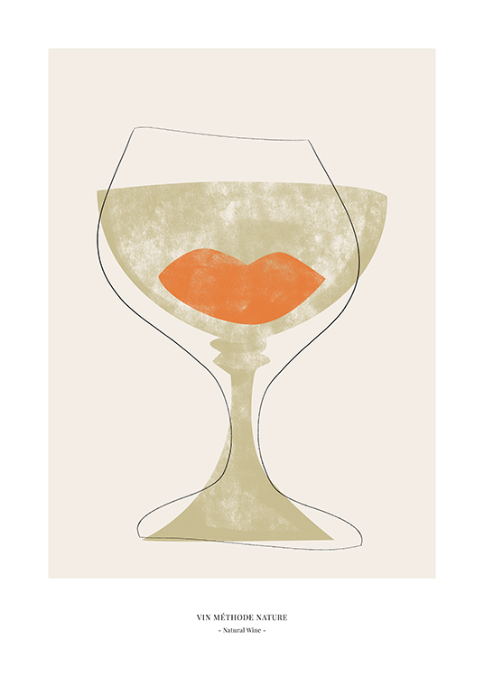 – Graphic illustration of a green and orange abstract wine glass outlined in black, on a beige background