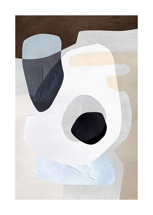 – Painting with abstract shapes in grey, beige, blue and white with paint stroke structure