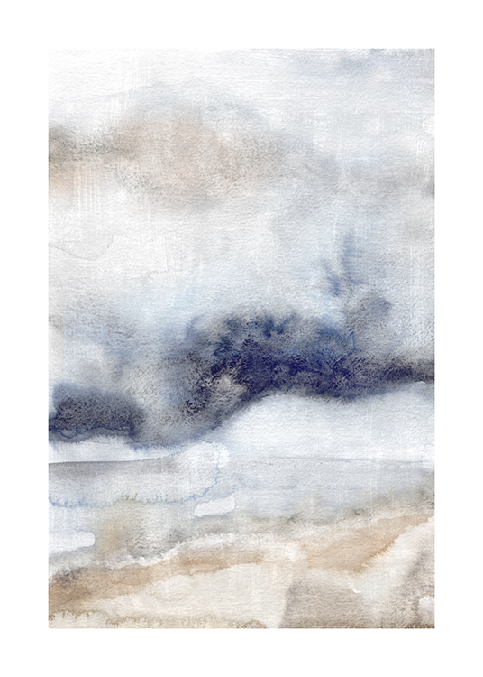 – Watercolour painting with an abstract design in grey, beige and blue