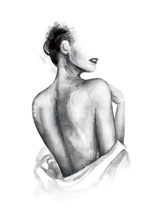 – Painting in watercolour of a naked woman's back with a shirt wrapped around her waist