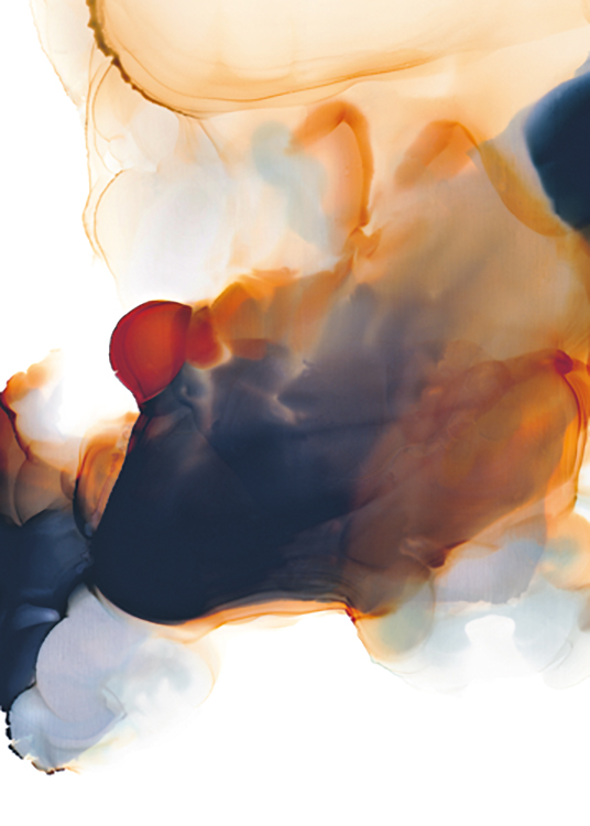 – Painting with red, orange and dark grey liquid paint on a white background