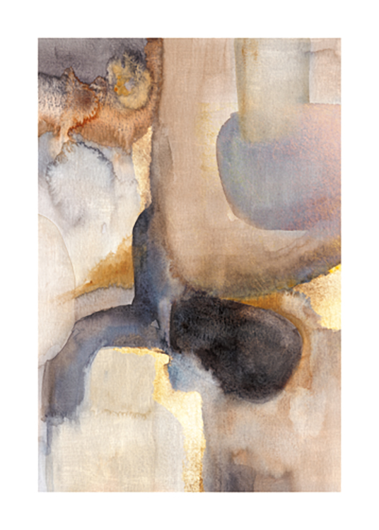 – Abstract painting in beige, brown and blue watercolour with golden details
