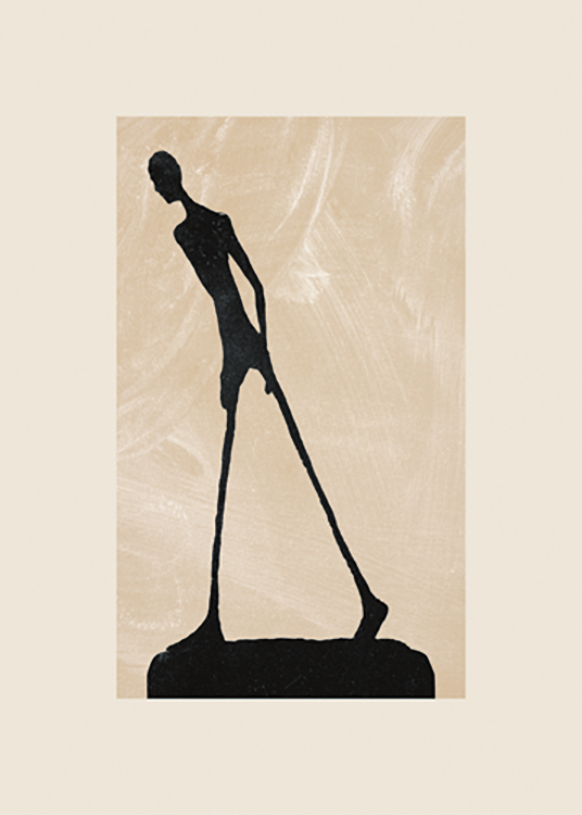 – Graphic illustration of a black sculpture with thin legs against a beige background with white, patchy details