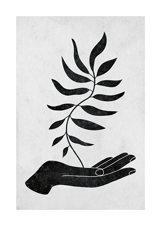 – Graphic illustration of a black hand with a leaf coming up from it, against a grey background