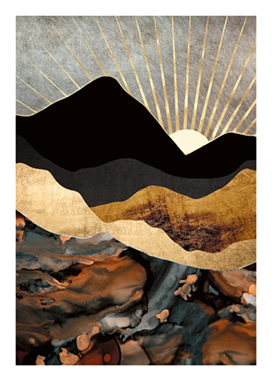 – Graphic illustration of gold and black mountains with a golden sunset in the background