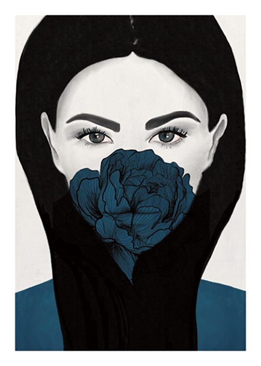 – Drawing of a woman with a blue peony covering her mouth, on a light grey background