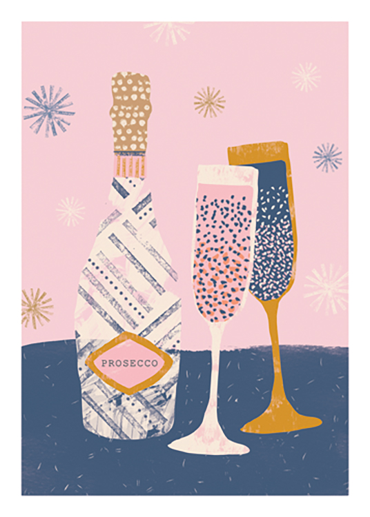 – Graphic illustration of a pair of glasses and a Prosecco bottle in pink, blue and gold