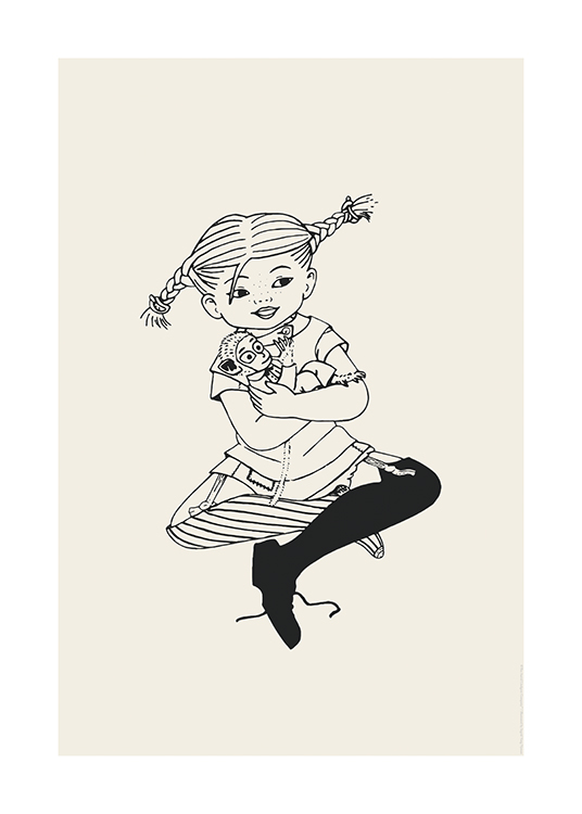 – Illustration of the Pippi Longstocking sitting with crossed legs and her monkey in her arms
