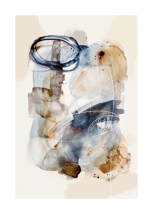 – Watercolour painting with an abstract figure in blue and beige, on a light grey background