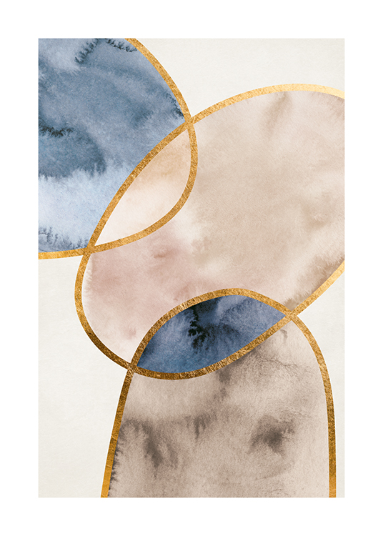 – Watercolour painting with abstract shapes in beige and blue, outlined in gold, on a light grey background