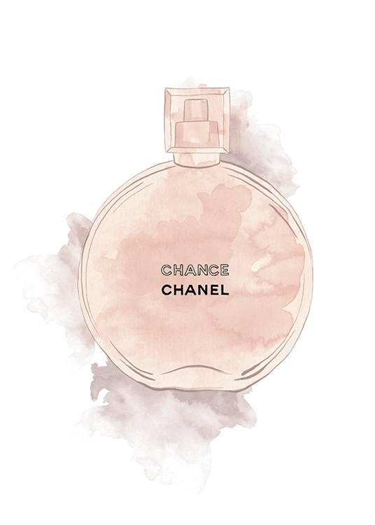 – Painting of a Chanel perfume bottle in pink watercolour on a white background