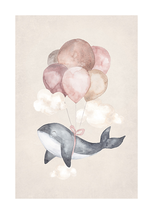 – Painting in watercolour of a small whale with balloons in pink and beige tied to it, against a beige background