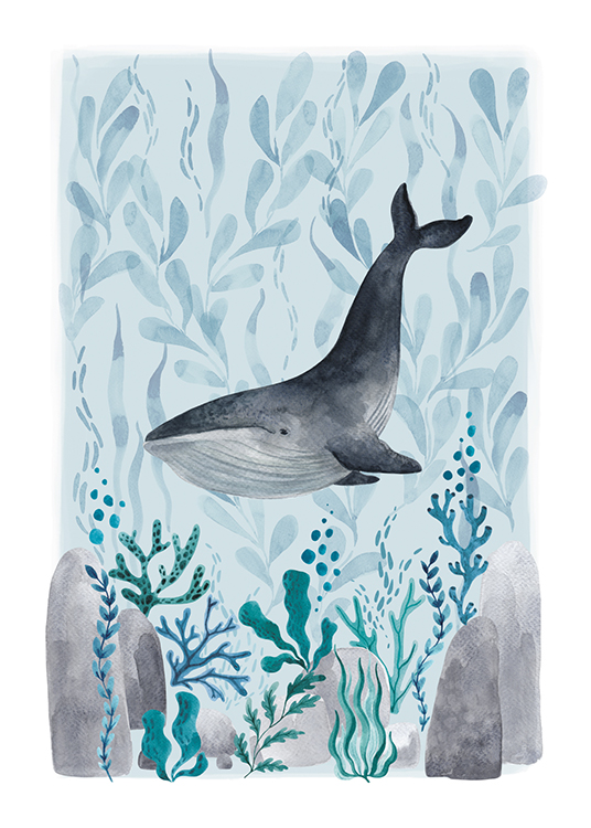 – Illustration in watercolour of a whale swimming between blue and green plants, on a blue background