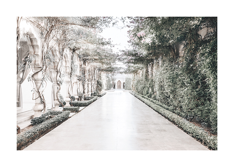 – Photograph of green plants covering the walls and pillars on the sides of a pathway