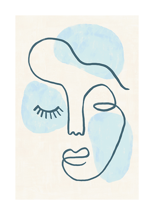 – Illustration in line art of an abstract face with closed eyes and blue shapes