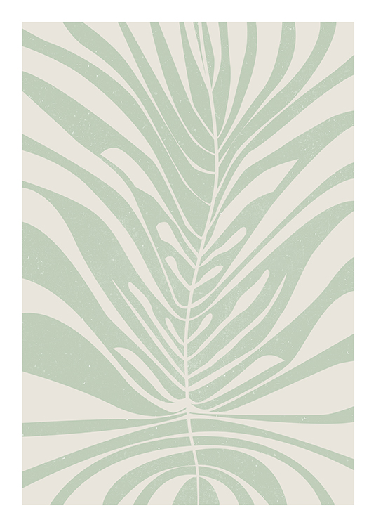 – Illustration of an abstract, green leaf with holes and a spotty effect on a beige background