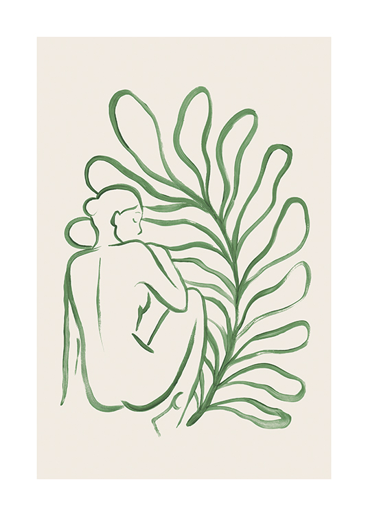 – Illustration of a large leaf behind a naked woman drawn in green against a beige background