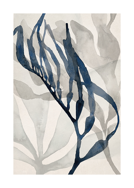– Illustration of abstract seaweed in grey and blue watercolour against a light beige background