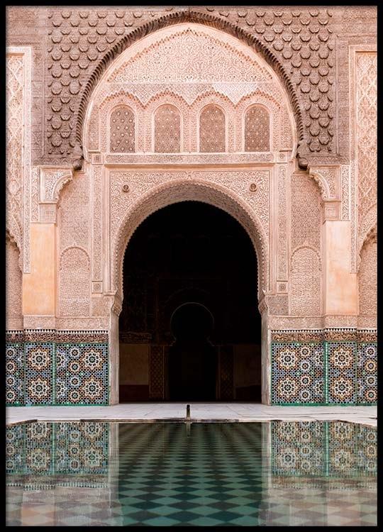 Marrakech facade poster for Moroccan wallpaper uk
