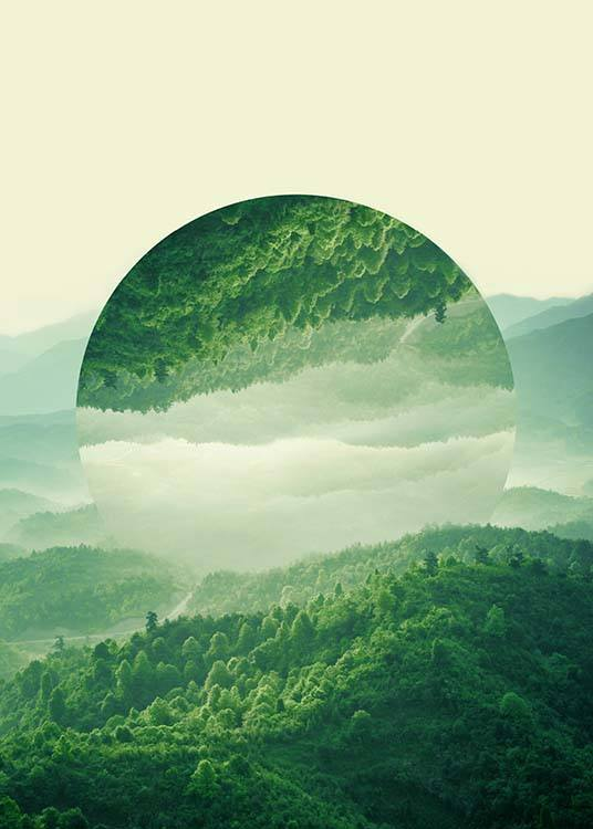 - Beautiful nature poster with lush green forests reflected