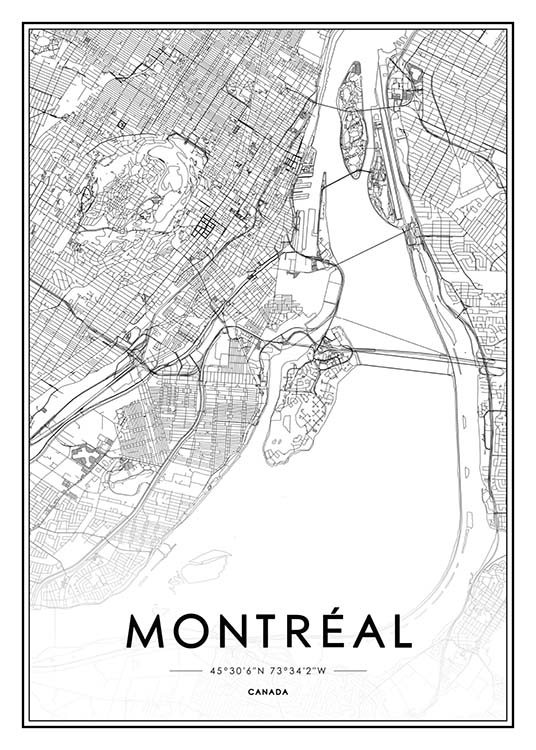 - Poster with a city map of Montreal in black and white.