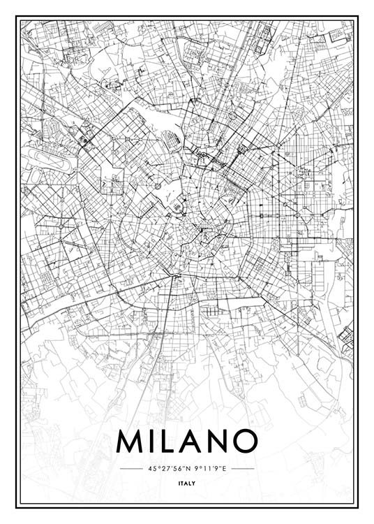 - Black and white city map of Milan in Italy.