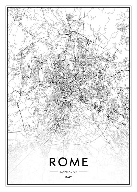 - Black and white city map of the Italian capital Rome.