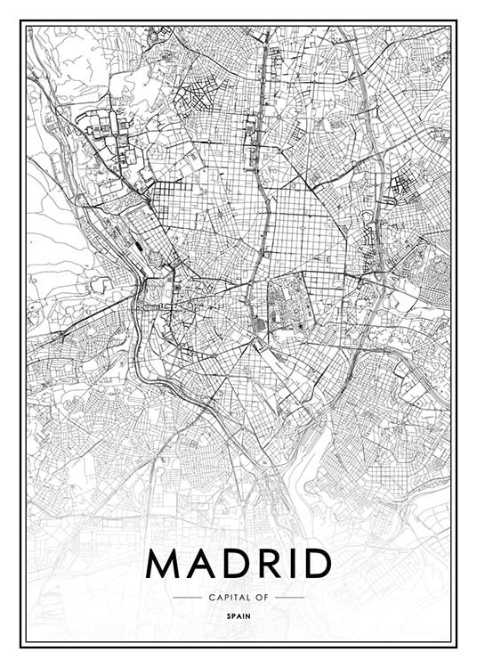 - Black and white city map of the Spanish capital Madrid.