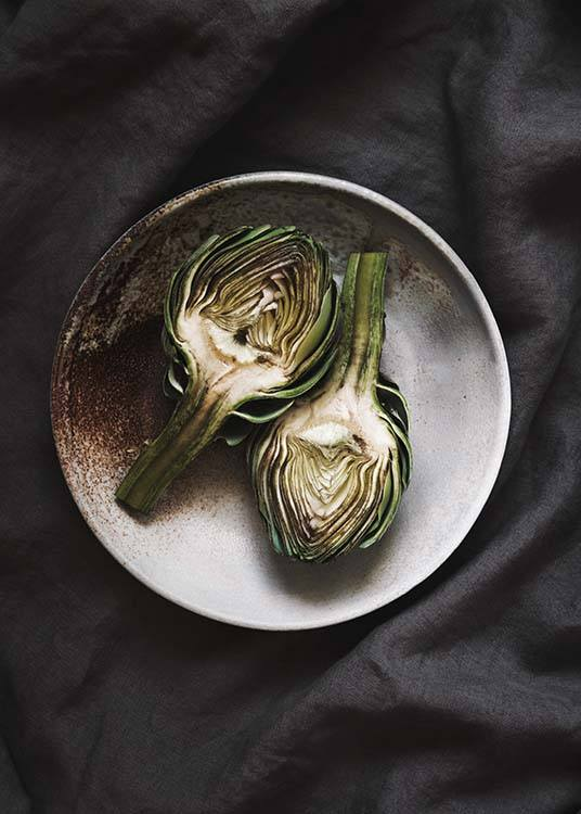 - Stylish kitchen poster with an artichoke cut in half on a plate and a grey background.