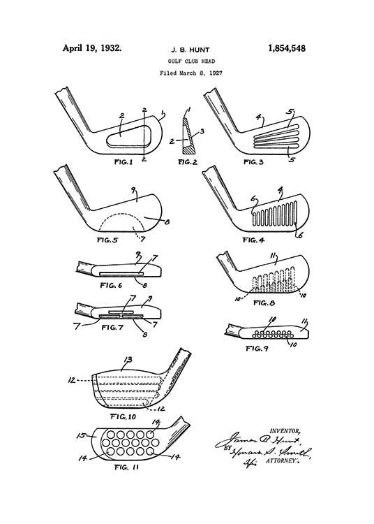 - Black and white patent drawing of different golf clubs.