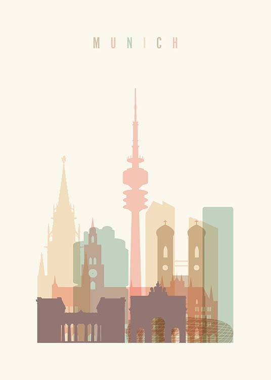 - Stylish city poster with the Munich skyline drawn.