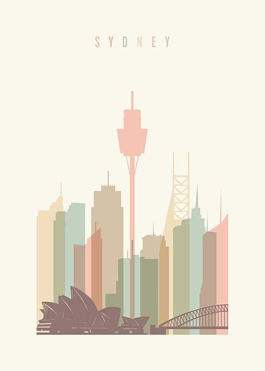 - Sydney skyline poster from Art Prints Vicky with a graphic design in pastel shades